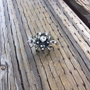 Metal Rhinestone Silver Studded Spider Insect